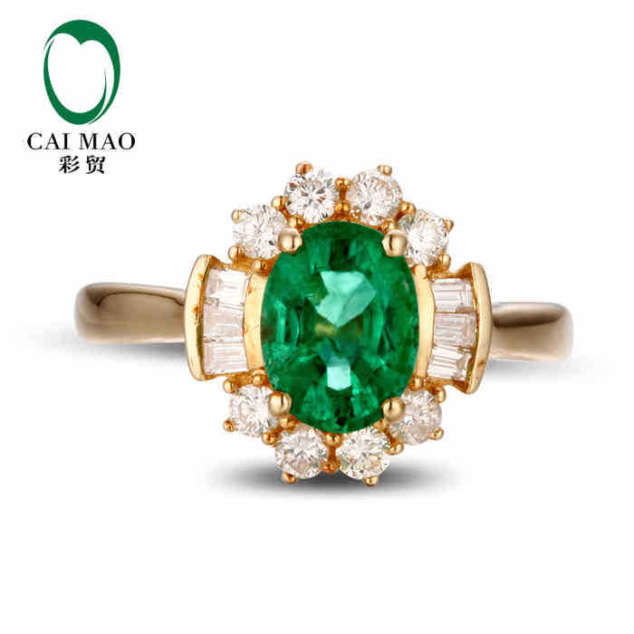 CaiMao 1.06ct Natural Emerald 18KT/750 Yellow  Gold 0.62ct Full Cut Diamond Engagement Ring Jewelry Gemstone colombianCaiMao 1.06ct Natural Emerald 18KT/750 Yellow  Gold 0.62ct Full Cut Diamond Engagement Ring Jewelry Gemstone colombian