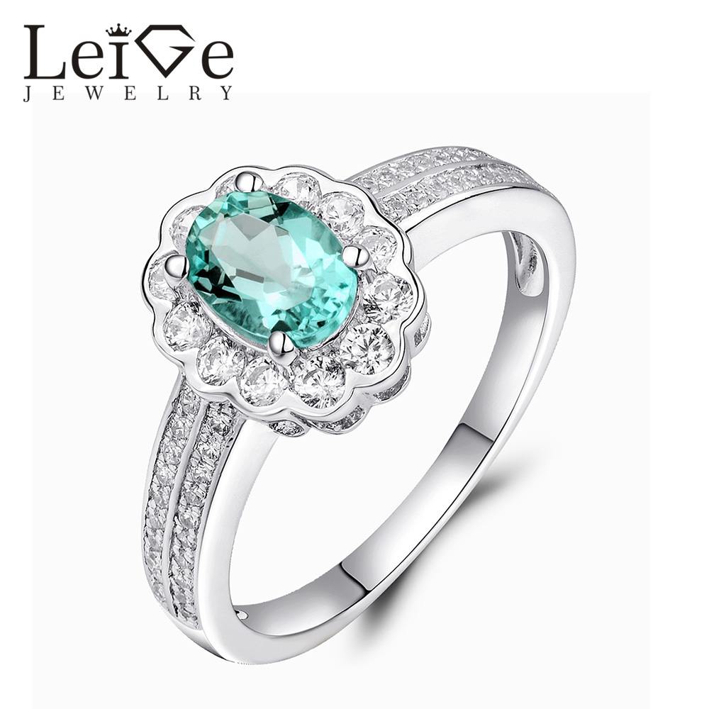 Leige Jewelry Oval Cut Natural Apatite Ring Green Gemstone Sterling Silver Halo Engagement Anniversary Rings for WomenLeige Jewelry Oval Cut Natural Apatite Ring Green Gemstone Sterling Silver Halo Engagement Anniversary Rings for Women