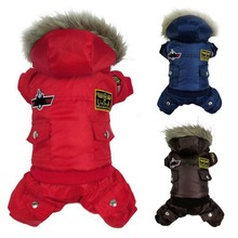 Winter Warm Small Dog Pet Clothes Padded Hoodie Jumpsuit Pants Apparel XS S M L XL