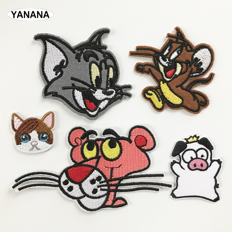 Lion Cat Mouse Cartoon Animal For Clothes Decorate Embroidered DIY Dressing Children's Clothes Iron On Patch