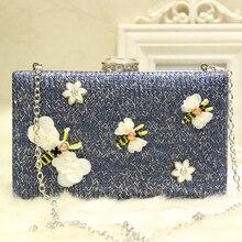 2018 Plastic Flower&Bee Designer Women Clutch Evening Bag Female Luxury Summer Box Blue Woven Straw Bags for
