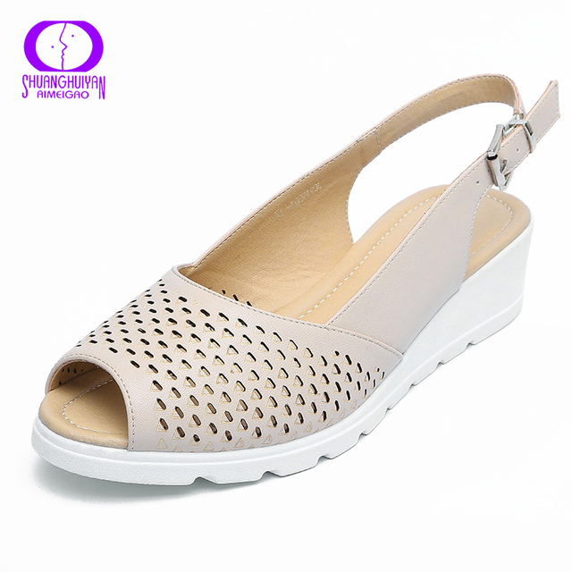 97247b755dd AIMEIGAO Summer Peep Toe Woman Sandals Platform Wedge Heels Ladies Sandals  Ankle Strap Soft Leather Fashion Shoes For Women