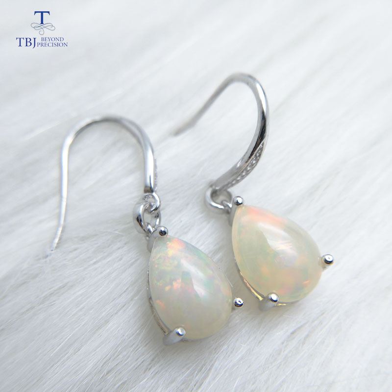 цена на TBJ,Water Drop 6.5ct Genuine ethiopian opal gemstone Dangle hook Earrings Pure 925 Sterling Silver Fine Jewelry For Women girls