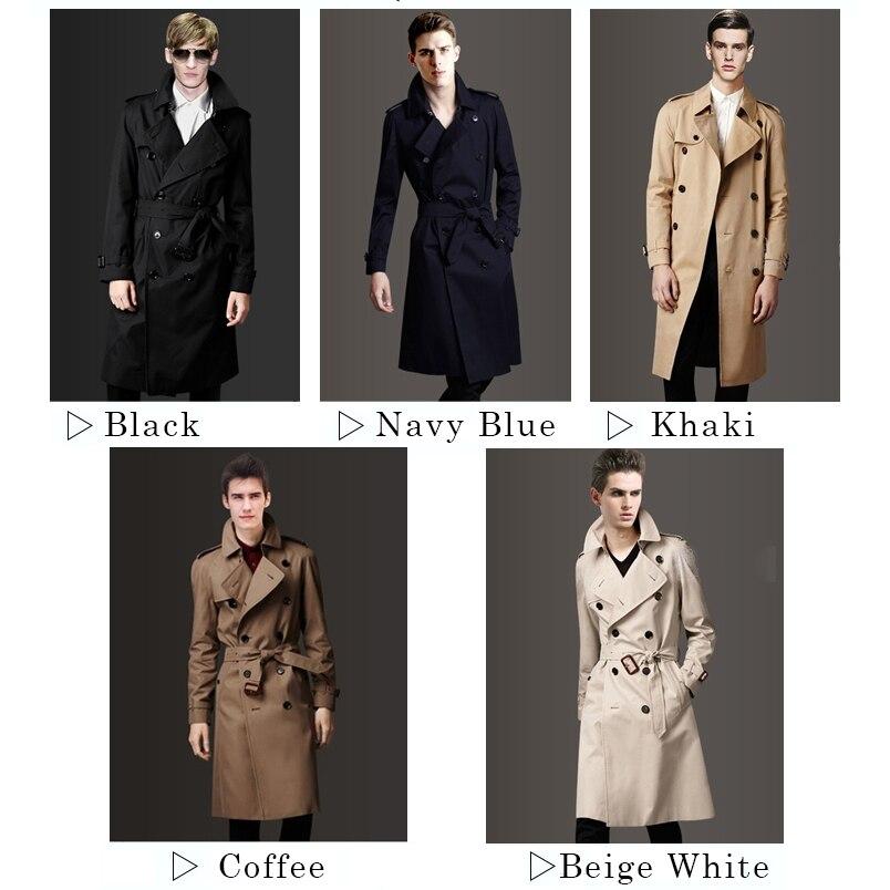 Весна осень мужской простой Тренч мужская одежда модное повседневное пальто с поясом мужской двубортный длинный Тренч - 5