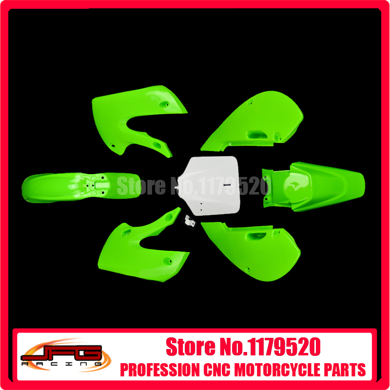 ФОТО New Plastic Kit Fender Farings For KX65 KLX110 DRZ110 Pit Bike Dirt Bike Motorcycle Parts