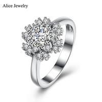 SVR148 2016 New 100 Real Pure 925 Sterling Silver Ring AAA Zircon Snowflake Party Engagement Wedding