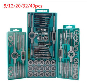 Image 1 - Hot ! 8/12/20/40pcs tap die set M3 M12 Screw Thread Metric Taps wrench Dies DIY kit wrench screw hand Tools Alloy Metal with box