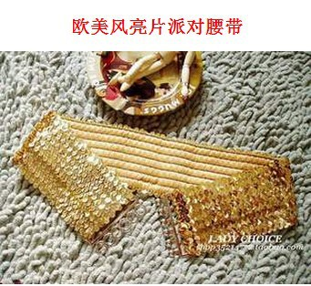 5 Pieces Women's Girl Lady Fashion Casual Elastic Stretch Belt Shinning Sequin Sequined Buckle Waist Belt Cummerbunds