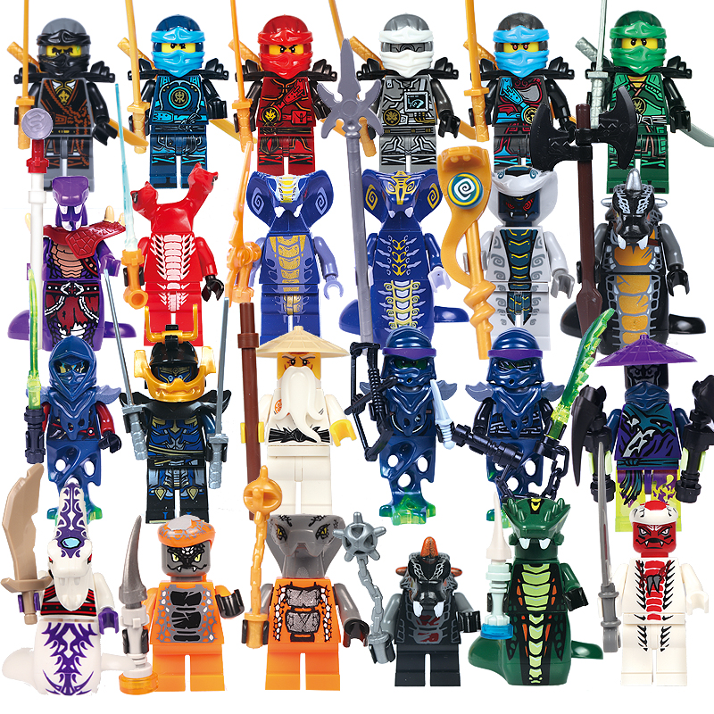 24pcs/lot Compatible Legoed Ninjagoinglys Ninja Heroes Kai Jay Cole Zane Nya Lloyd With Weapons Action Toy Ninjago Figure Blocks Vivid And Great In Style Blocks