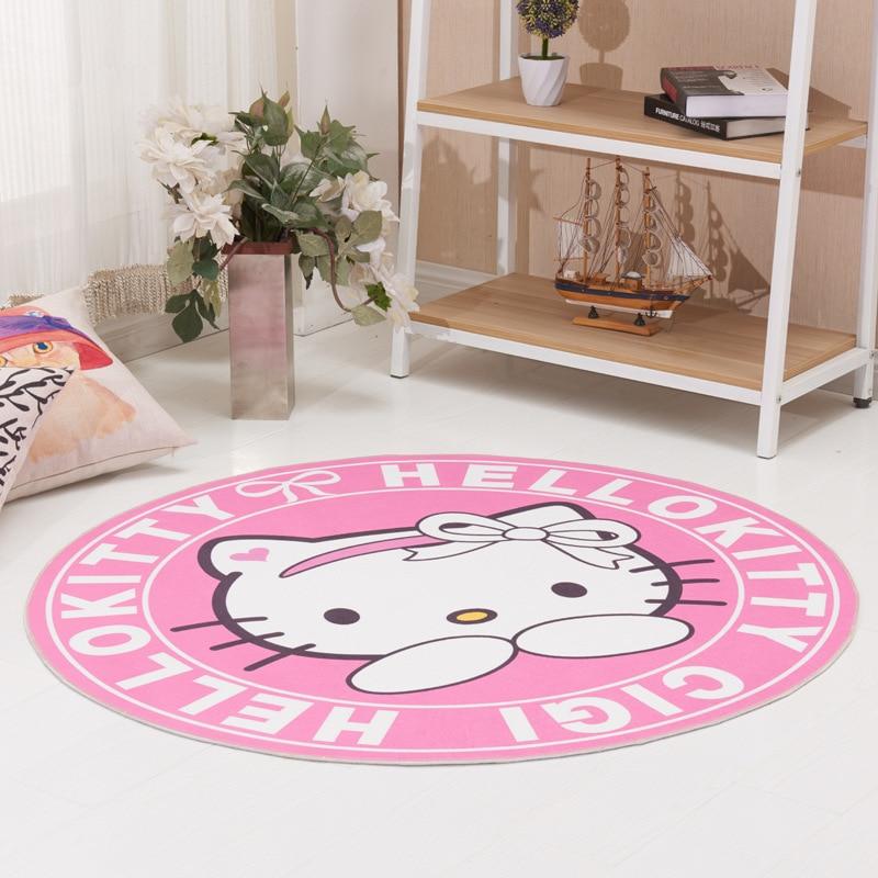Hello Kitty 100cm Round Blanket Fluffy Shaggy Area Carpet Rug Home Room Carpet Floor Mats Bedroom Dornier Jacquard Shag Rugs
