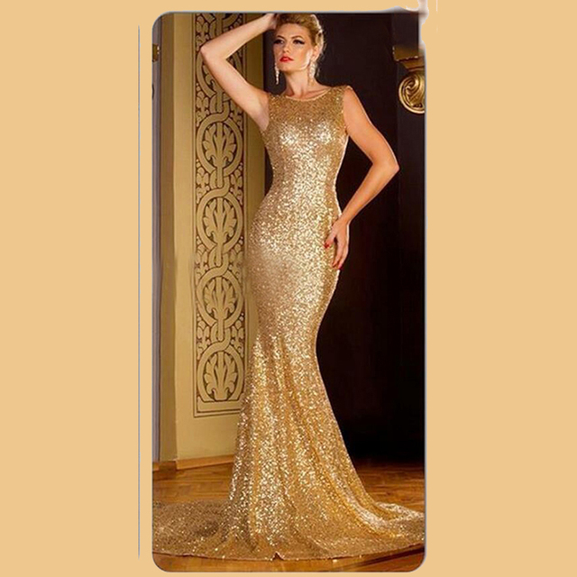 Gold Sequin Fabric Prom Dresses Mermaid Backless Sleeveless Formal ...