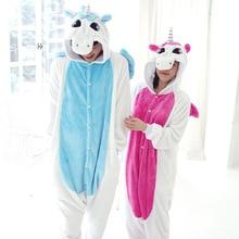 Kigurumi Pink Winter Unicorn Pajamas Winter Cartoon Adult Unisex Rainbow Onesie Hooded Cute Sleepwear Animal Pyjama