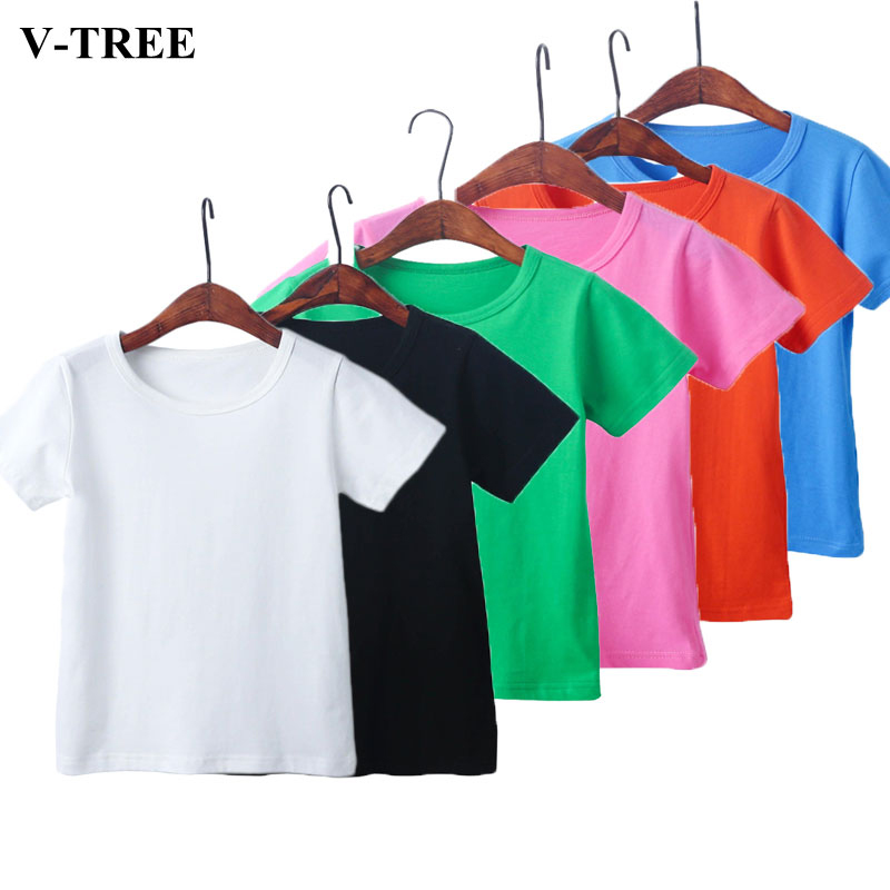 Girls Shirts Kids Tees School Toddler Boys Solid-Color Cotton Summer for Outerwear 2-8t-Tops