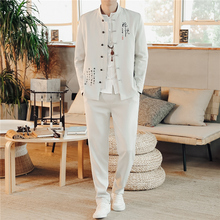 LOLDEAL Chinese Style Stand Collar Suit Mens Retro Vintage Embroidery Tunic Blazer+Pants Male
