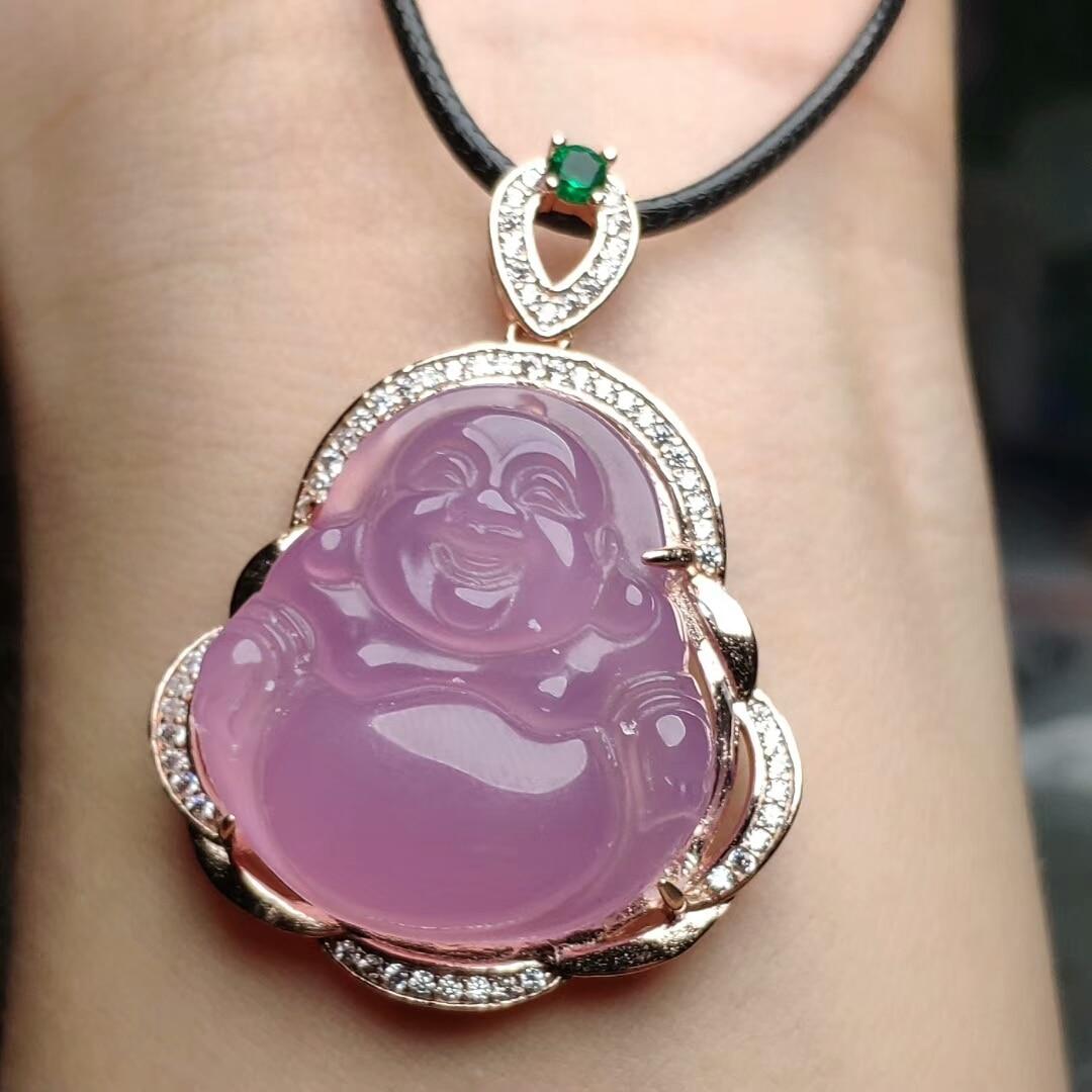 Koraba S925 en argent Sterling naturel rose Jade calcédoine bouddha pendentif en cuir corde collier de pierres précieuses femmes bijoux de luxe