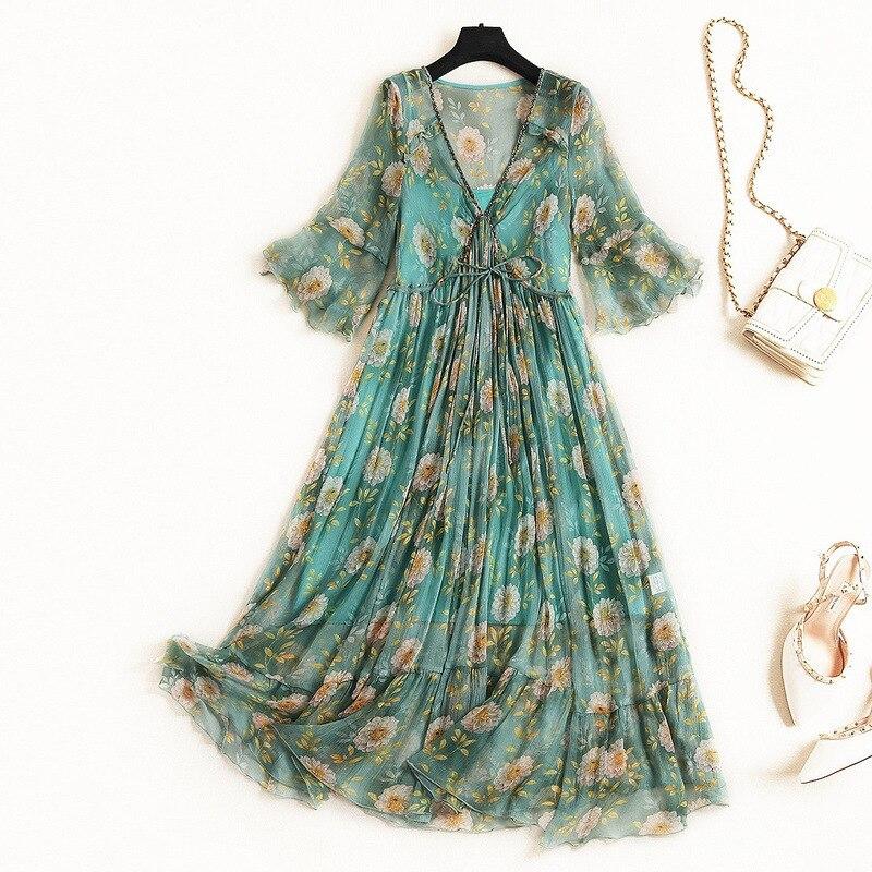 VERDEJULIAY piste soie robe 2019 été mode nouvelles femmes Flare manches perles fleur imprimer fête plage longue robe élégante