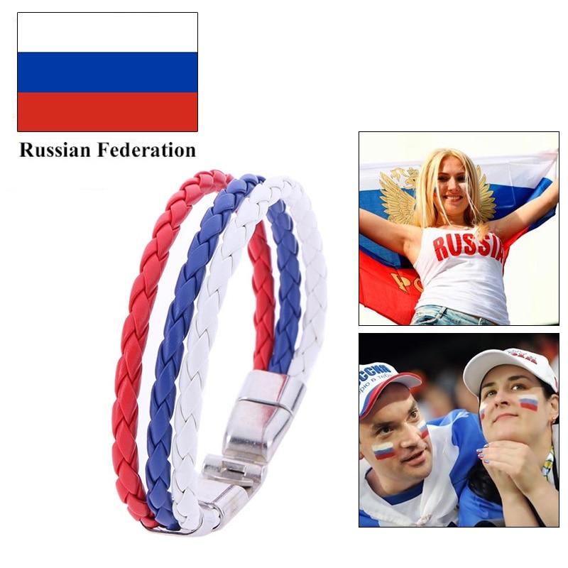 2018 Fashion Football National Flag Leather Bracelet Men/Wome Lover Bracelets Weave Braided Wristband Football Fans Bracelet