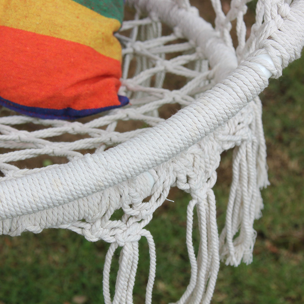 Hanging Cottton Rope Hammock Chair Swing Set Hand Knitted Patio Swing Seat Lazy Rocker Outdoor Home Garden Furnitures in Patio Swings from Furniture