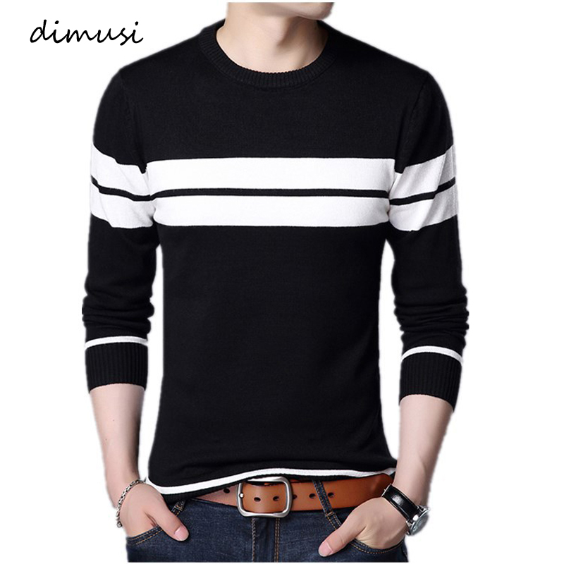 DIMUSI Winter Men Fashion Pullover Knitted Sweater O-Neck Casual Long Sleeve Warm Pullovers Male Striped Sweaters Clothing