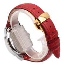 Red Genuine cowhide Leather 12 14 16 18 20 22 mm Watche Band Strap Belt Watchband Folding Clasp / Buckle And Spring Bar Tool