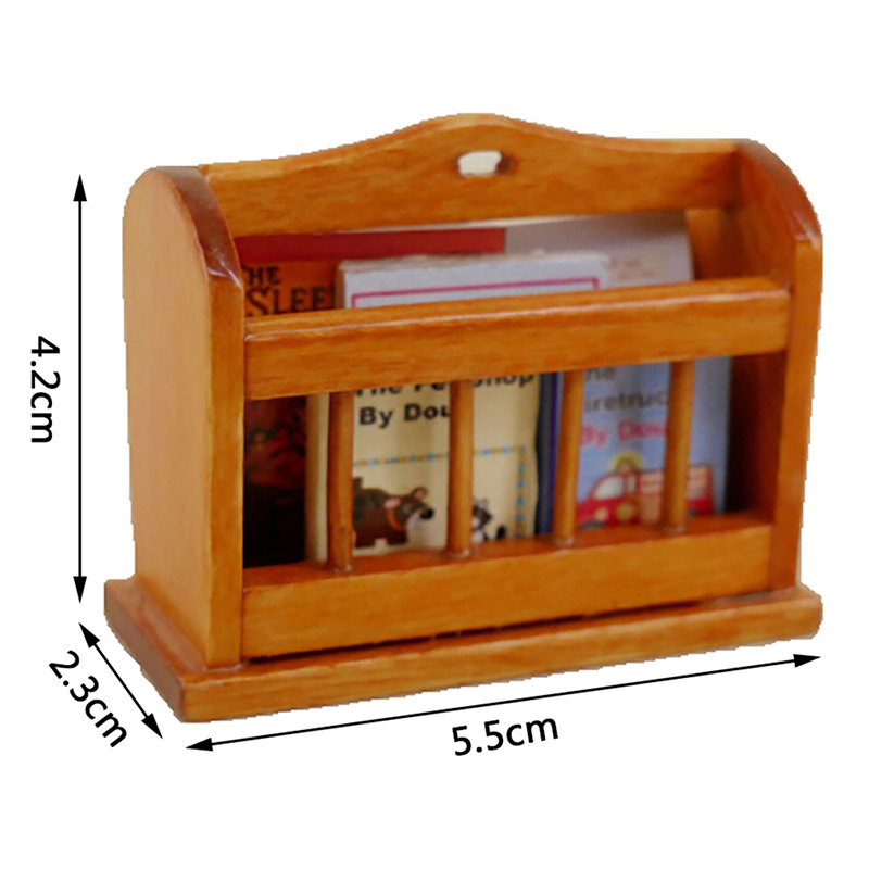 Dollhouse Miniature Bookcase Self Wooden Newspaper Shelf Newspaper SheES