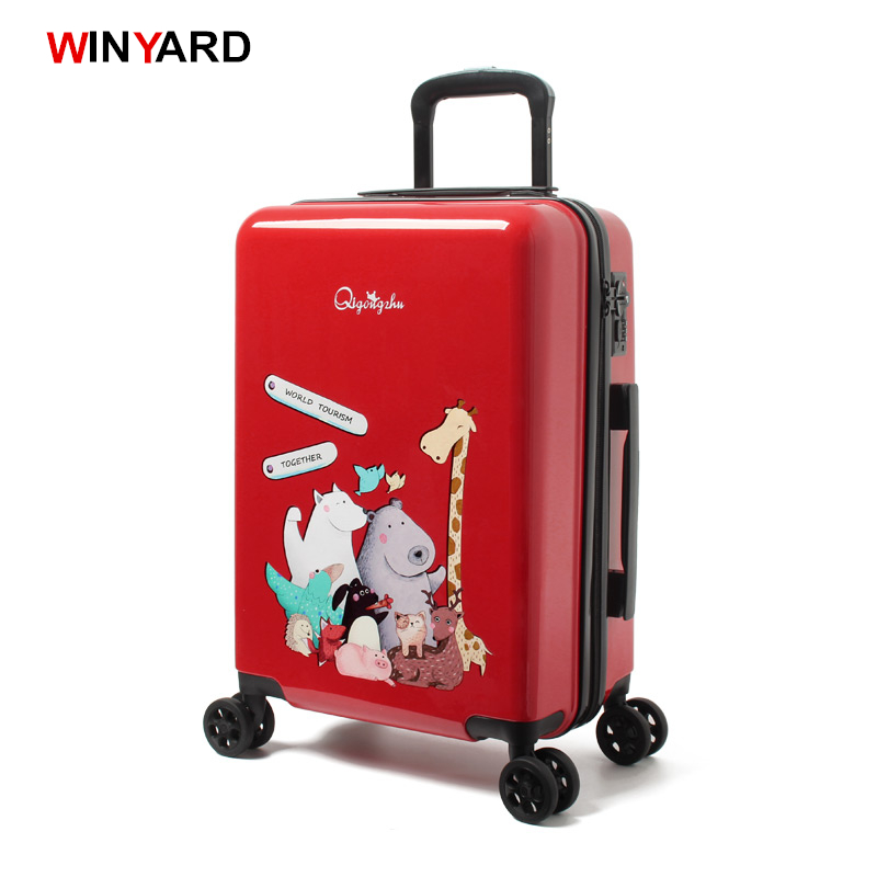 Wholesale!24 inch abs+pc red cartoon hardside suitcase good quality,fashion universal trolley luggage gift for girl,euro style wholesale 24 inch abs pc red cartoon hardside suitcase good quality fashion universal trolley luggage gift for girl euro style