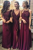 Multi Styles A Line Bridesmaid Dresses Floor Length Maroon Bridesmaid Dress with Lace