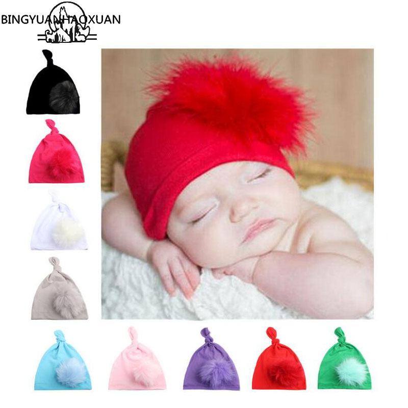 BINGYUANHAOXUAN New Baby Hat Autumn Winter Baby Hair Ball Knot Sharp Angle Cap Baby Girls boy Children Clothing Accessories Hats 4pcs new for ball uff bes m18mg noc80b s04g
