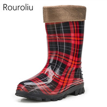Drop Shipping Women Fashion Mid-calf Rain Boots Glossy Colors PVC Rainboots Grid Dot Water Shoes Wellies  #TR84