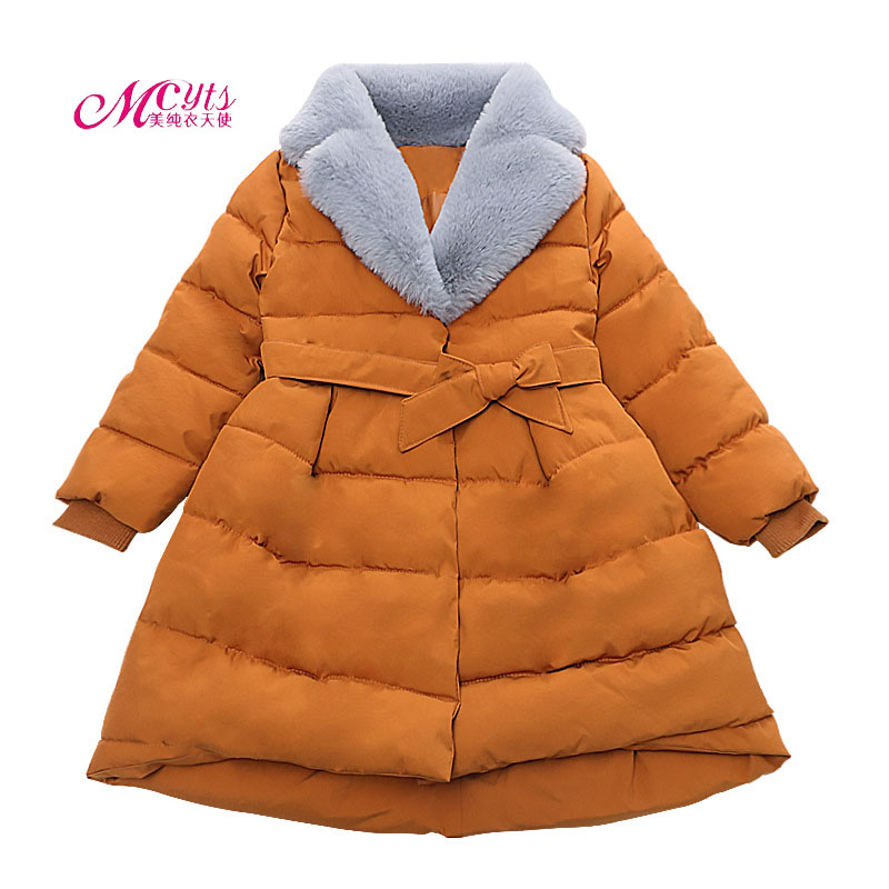 2017 New Winter Jacket For Girls Clothes Fur collar Parkas Cotton Warm Thick Coat Children Girls Outerwear 4 6 8 10 12 13 Years children thick winter jacket fashion jacket winter paragraph girls hairs ball cartoon embroidered cotton outerwear coat