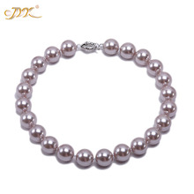 JYX 2019 charming necklace Light Purple 16mm Seashell Pearl Round Beads Necklace high quality 18