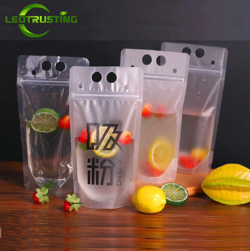 Leotrusting 50pcs 300-500ml Handle Plastic Beverage Bag Clear/Matte Juice Milk Coffee Drinking Bag Party Wedding Beverage Pouch
