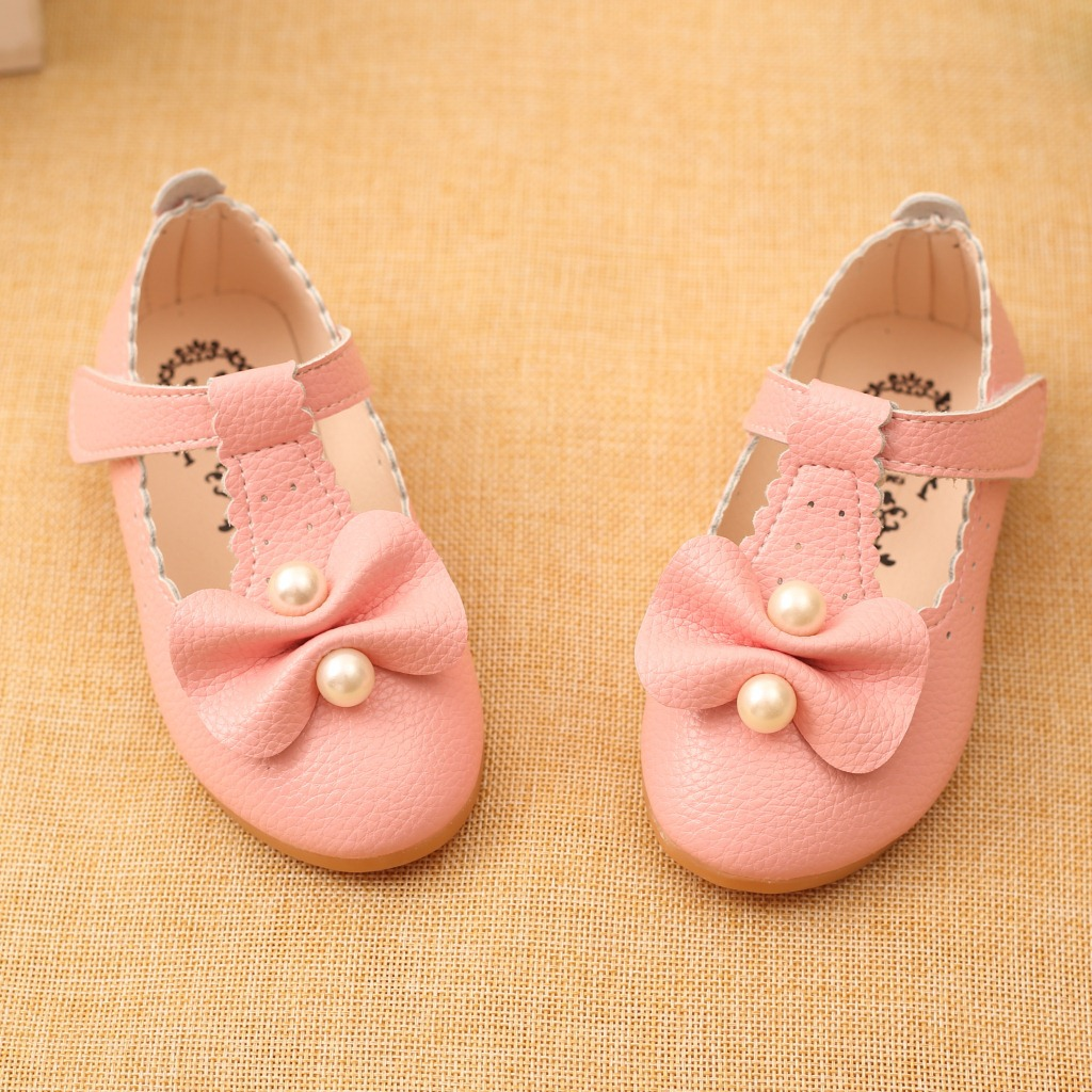Children Shoes Girls Shoes 2017 Spring Autumn Fashion Pearl Bow Toddler Girl Princess Shoes Soft Sole Ballet Flat Kids Sandals