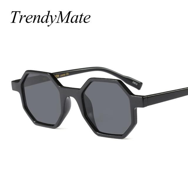 0867bd95c0c50 Unisex Flat Top Eyeglasses Small Triangle Frame Cat Eye Sunglasses Women  UV400 2018 Fashion Color Ocean