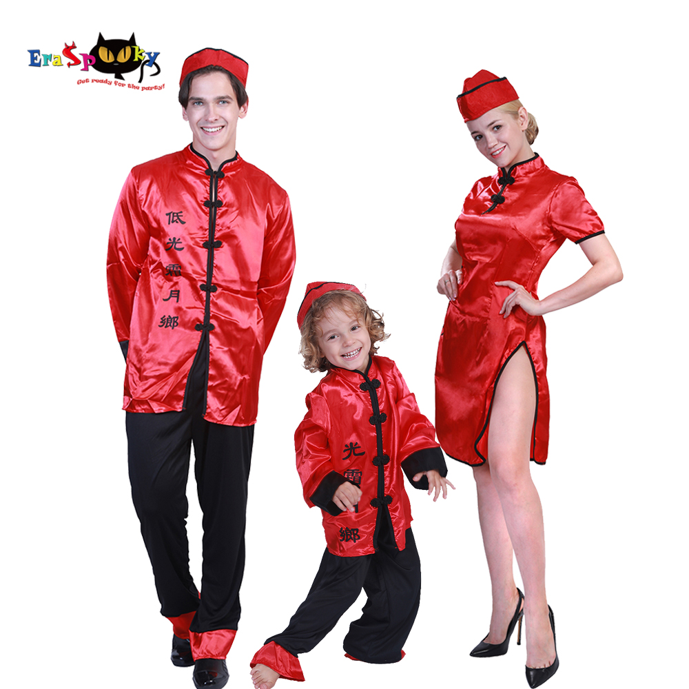 Halloween costumes for Adult Women Chinese Tang Suit Group Costume Idea Family Red Cheongsam Dress New Year Mandarin Coat Gown