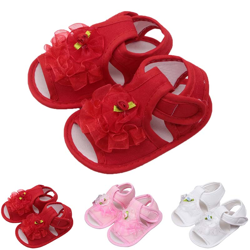 Newborn Infant Baby Girls Crib Shoes Soft Sole Anti-slip Sneakers Flower Preawalker