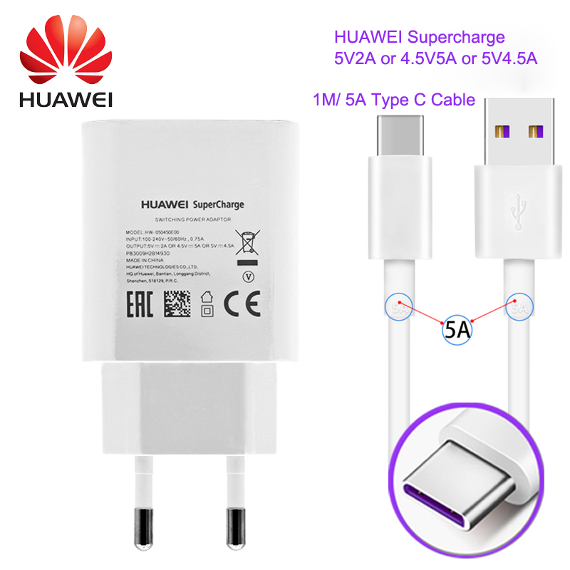 Original Huawei P10 Mobile <font><b>Phone</b></font> <font><b>Chargers</b></font> for Huawei mate 9 Fast <font><b>Charger</b></font> 4.5V 2A Quick USB <font><b>Charger</b></font> 2A With 1M USB Type C Cable