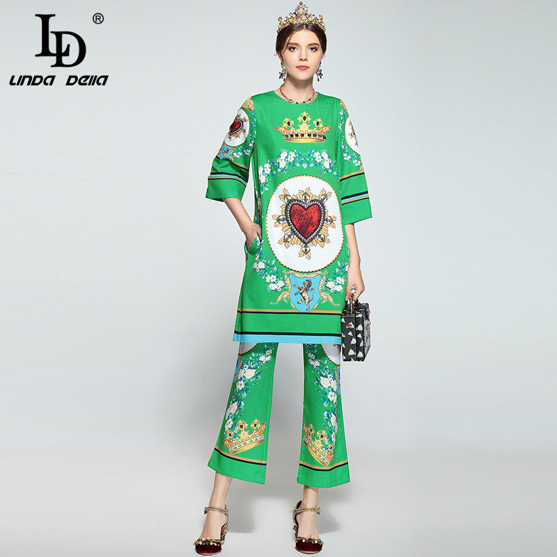 LD LINDA DELLA New Design Fashion Runway Pants Suit Women Two-Pieces Set Green Floral Print Beading Dress Set High Quality high quality woman suit 2 pieces set army green long sleeve suede blazer suit set casual vintage two pieces set women suits