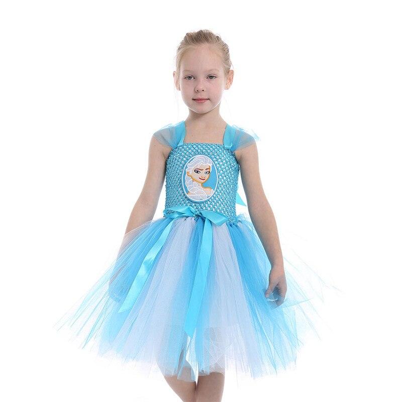 Baby Elsa Cosplay Dress 1-12Years children Movie Cosplay Costume Performance Wear Kid's Elsa Costume Girls Tutu Princess Dress