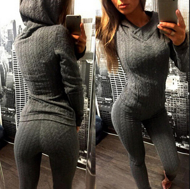 Tracksuits Time-limited Blends Full None Hooded Elastic Waist 2016 New Women Suit Thread Clip Hoodie + Trousers
