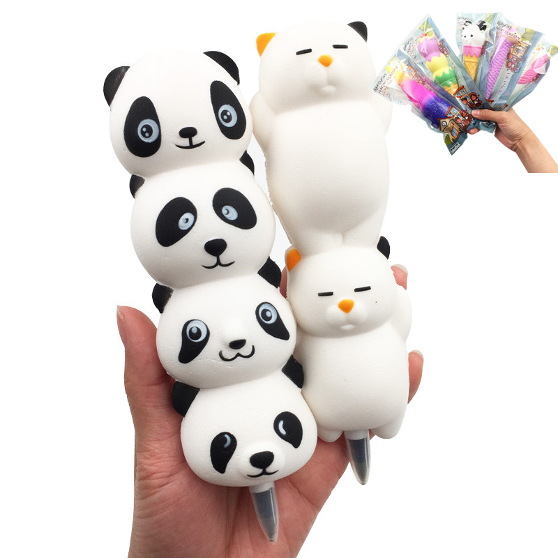 Squishy Pencil Sleeves Cute Panda Dango Dolls Lazy Cat Slow Rising Pen Cap Toppers Grip Scented Stress Relief Toy Ball Pen Gift