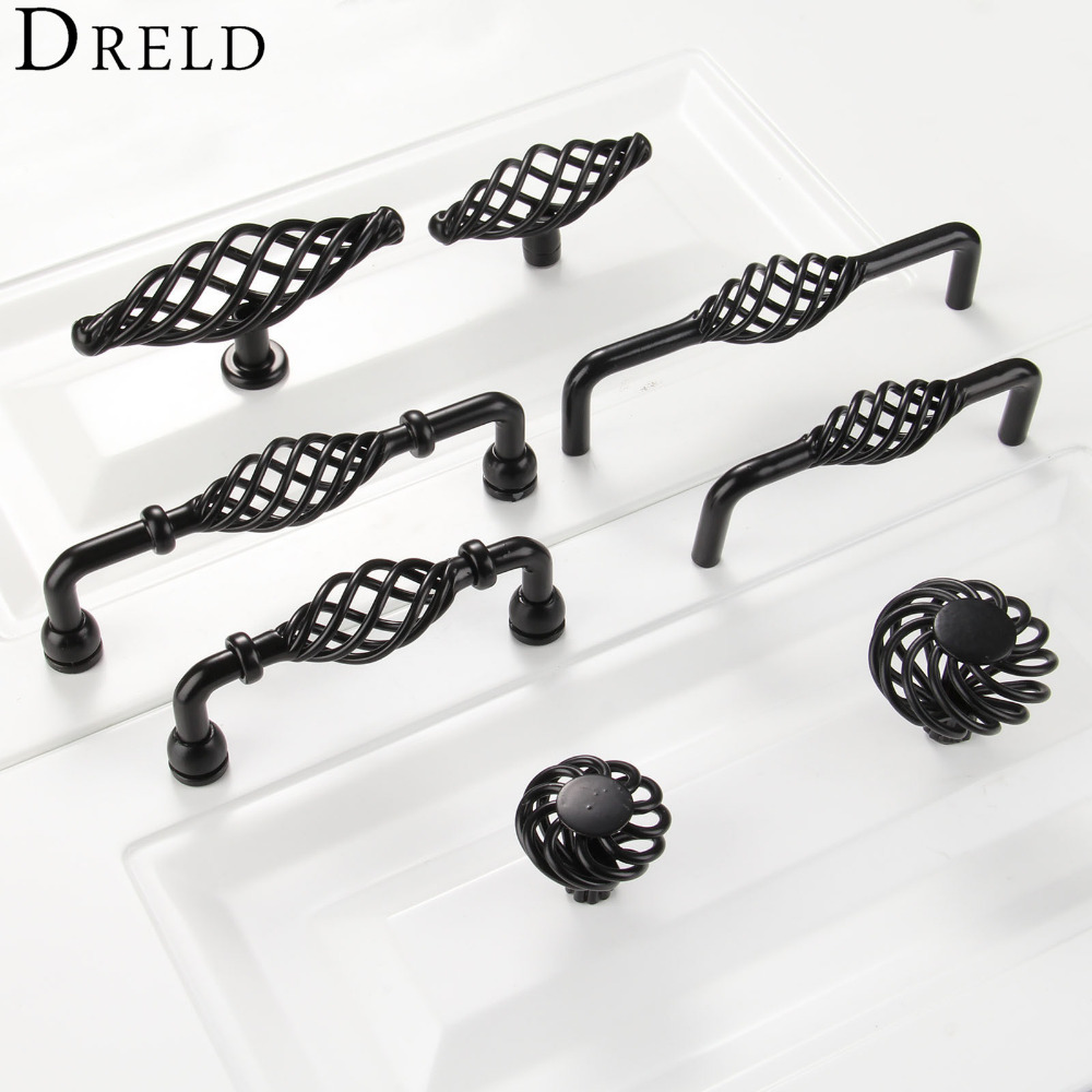 DRELD Furniture Handles Black Birdcage Wardrobe Door Pull Dresser Drawer Handle Kitchen Cupboard Handle Cabinet Knobs and Handle luxury gold czech crystal round cabinet door knobs and handles furnitures cupboard wardrobe drawer pull handle
