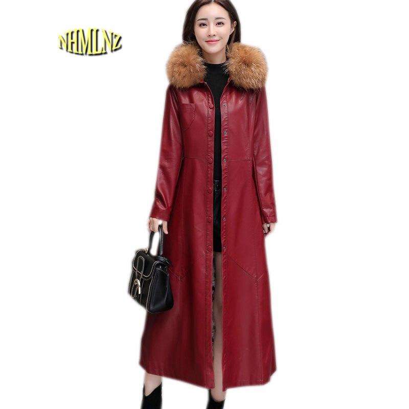 2019 Women   Leather   Jacket Latest Winter Long Coat Fur collar Thick Warm Cotton Jacket Casual Large size Slim Female Coat OK655