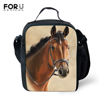 FORUDESIGNS Crazy Horse School Insulated Lunch Bag for Kids Boy Girls Lunch  Box Women Tote Bag Thermo Cooler Picnic Food Bag