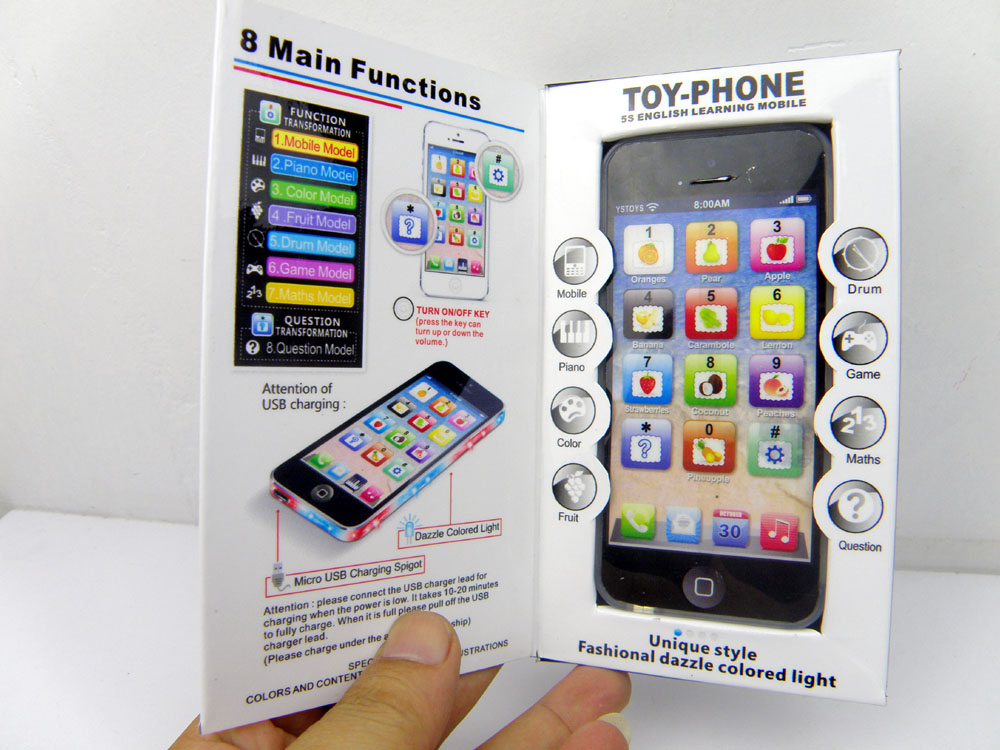 New Learning & Education Kids Toys Y Phone 5 kids English Learning Machine Light Children Yphone Fun Toys S079