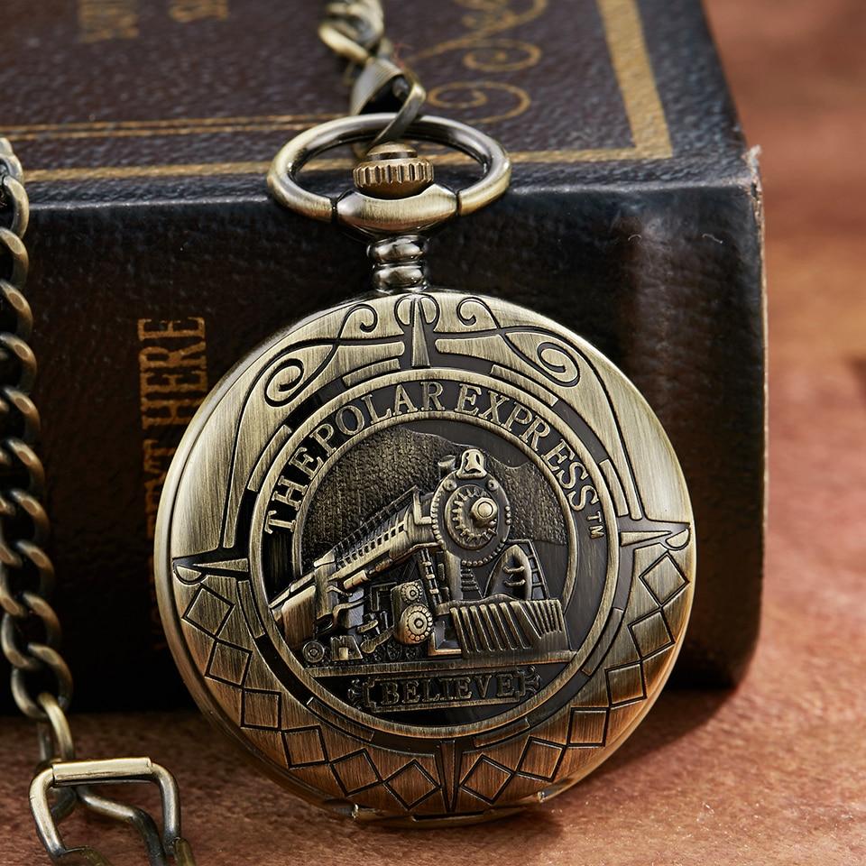 New Bronze Train Mechanical Pocket Watch Car Laser Engraved Hand Wind Men Clock Men Flip Case Fob Watches With Chain Gift Box
