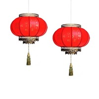Chinese Japanese 30/40/50cm Red Lanterns Pendant Light Antique Hanging Lamp Hotel living Room Restaurant Party Lighing Fixtures