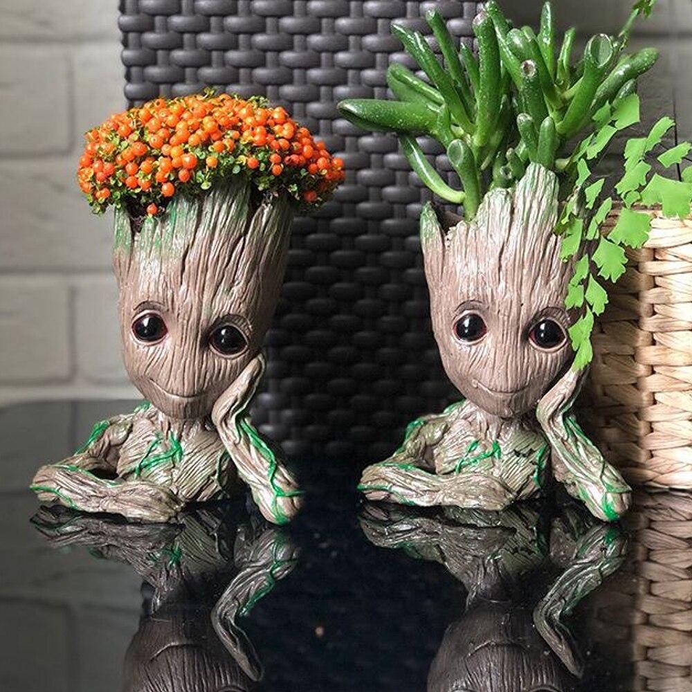 Cute Cartoon Flowerpot Home Decor Ornament Figures Cute Model Toy Pen Pot Holder Garden Decor Supplies