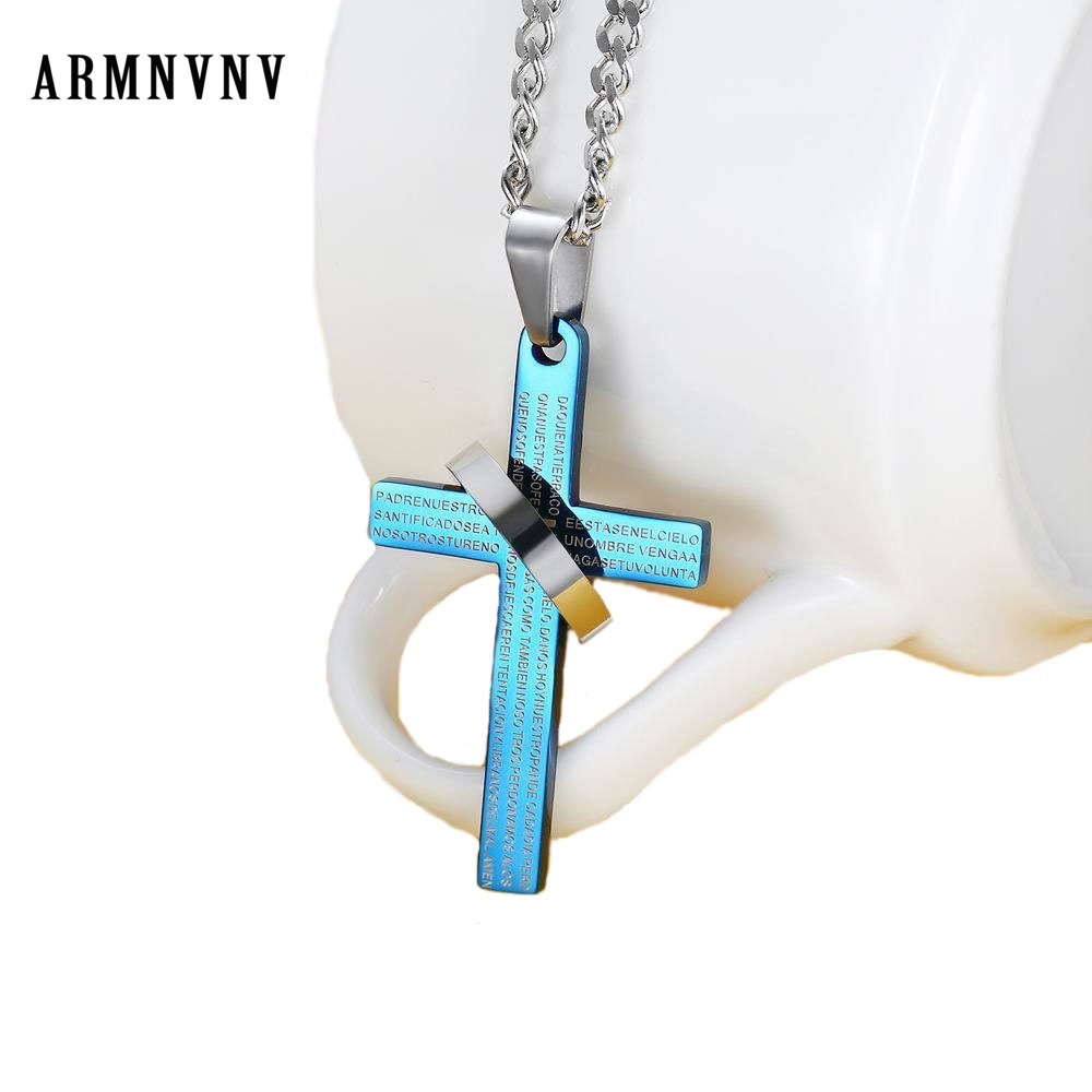 24 Inches Abstract Snow Top Cat Face Pattern Cross Necklace for Unisex Black Zinc Alloy