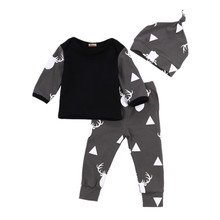Newborn Baby Boys Baby Girl Infantil Clothes Deer Tops T-shirt +Pants Leggings Hat 3pcs Outfits Set
